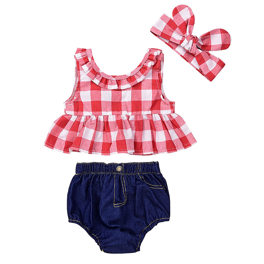 2018 Infant Kids Baby Girls Tops Sleeveless Plaid T-Shirts Jeans Shorts Headband Kids Clothing Outfits Clothes Sets