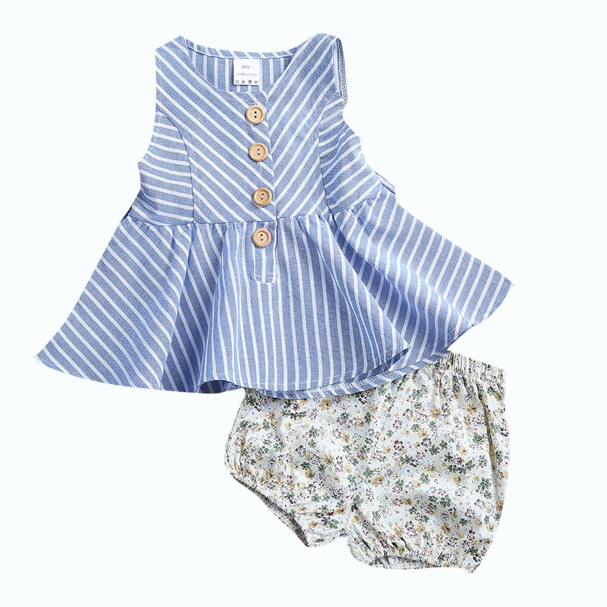 2017 Hot sell Summer Baby Girls Clothes Summer Child Cotton Strip Dress Sleeveless Tops Floral Pants Baby Clothing Set