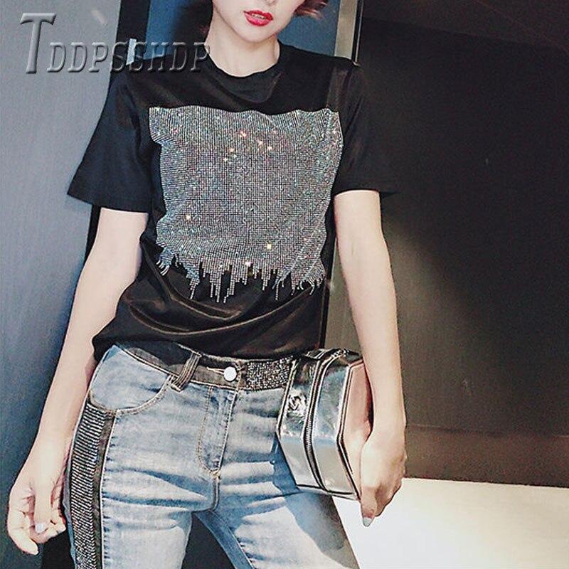 2019 Plus Größe Fett MM Schwarz Farbe Frauen T Shirt Diamant Weichen Stoff Weibliche T Shirts