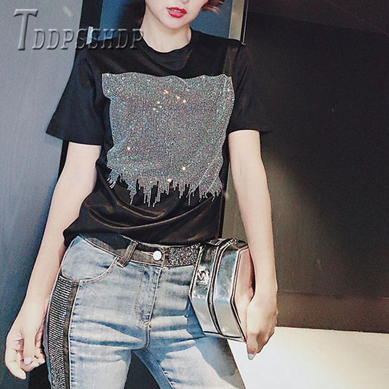 2019 grande taille gros MM couleur noire femmes t-shirt diamant doux tissu femmes t-shirts
