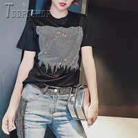 2019 mais tamanho de gordura mm cor preta camiseta feminina de tecido macio de diamante camisetas femininas