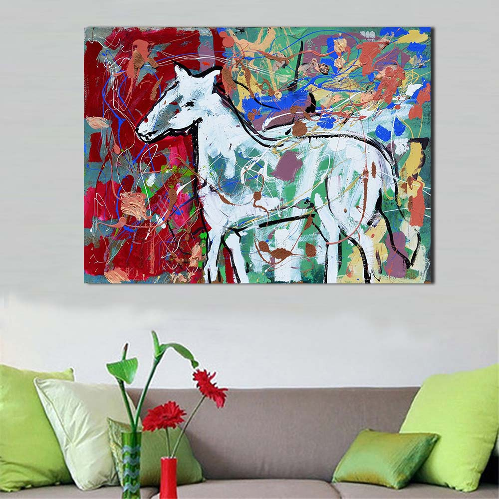Graffiti Bedroom Art Paint Colors For Bedroom Youth Bedroom Sets Simple Little Boy Bedroom Ideas: JQHYART White Horse Graffiti Picture Canvas Print