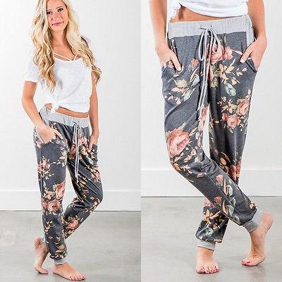 Womens Lady Loose Casual  Harem Pants Jogger Dance HipHop Slacks Trousers Ladies Women Flower Pant Print Clothing