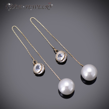 IYOE Trendy Style Simulated Pearl Drop Earrings Gold Color AAA CZ Diamonds Long Chain Earring For Women