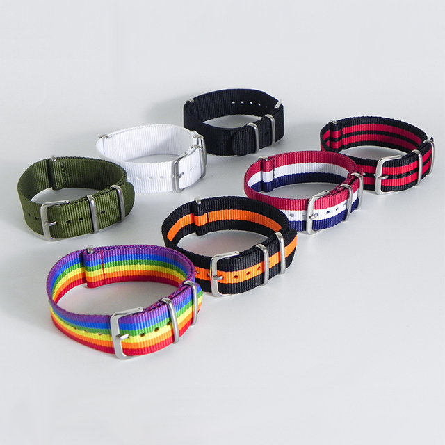 1pc New Strap Rainbow Watchband 18/20/22mm Nylon Watch Bracelet Strap Wristwatch
