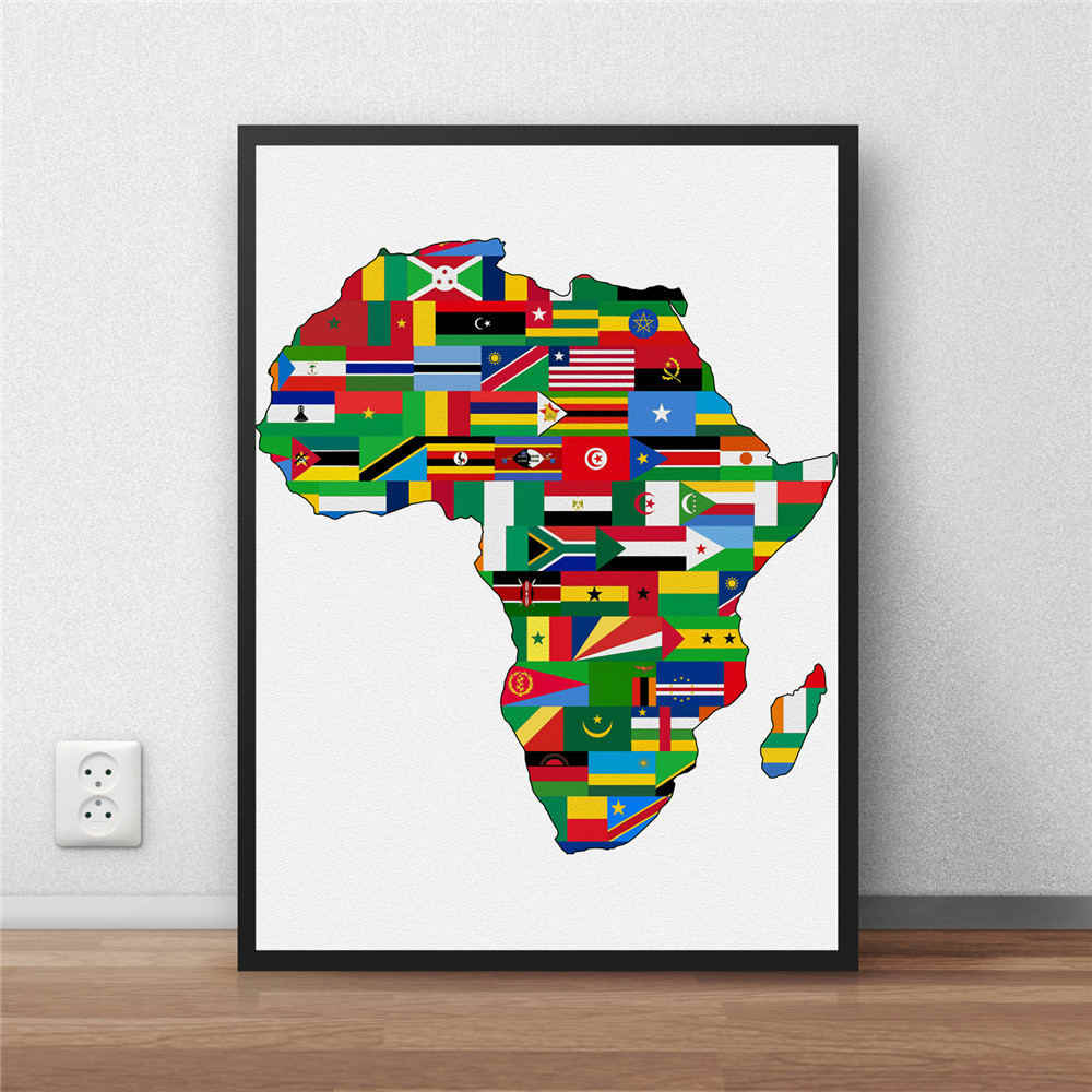 Africa World Map Country Flag posters Living Room paper wall art crafts stickers Wall moive Bar Pub Cafe Poster 42x30CM no frame