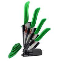New Green Plum Flower Ceramic Knives 3 4 5 6+Peeler+Knife Holder Kitchen Cooking Knife White Blade Ceramic Top Quality