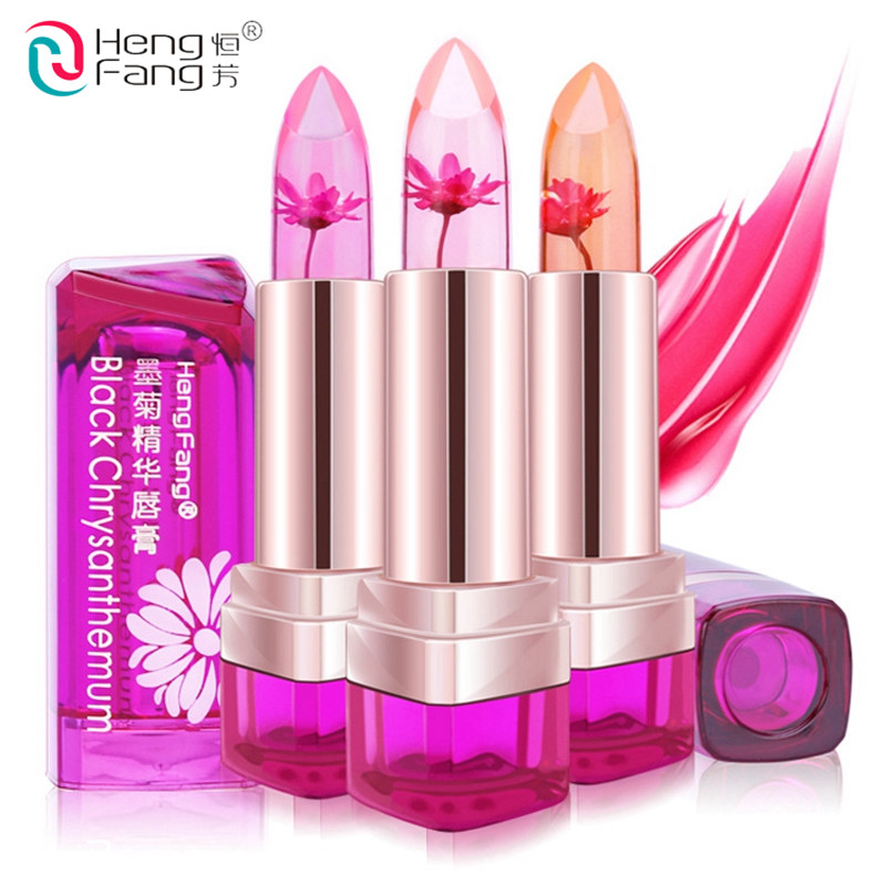 2016 Temperature Change Color Lip Balm 3 Color Waterproof Long-lasting Sweet Transparent Jelly Flower Pink Moisturizer Lipstick 2