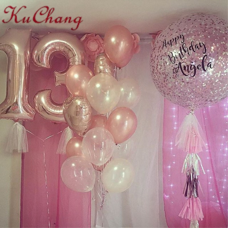 10pcs Lot 40inch Rose Gold Number 13 Latex HeartStar Foil Helium Balloons 13th Birthday Party Decoration