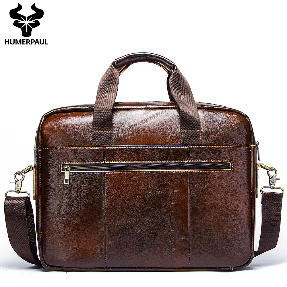 Crazy Horse Cow Leather Men Briefcase Casual Handbag Soft Shoulder Crossbody Bag Male Business Travel Bag Laptop Bag
