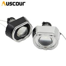 2pcs 3.0 inch hella 5 Bixenon hid Projector lens with square angel eyes white led day running D1S D2S D3S D4S model car modify