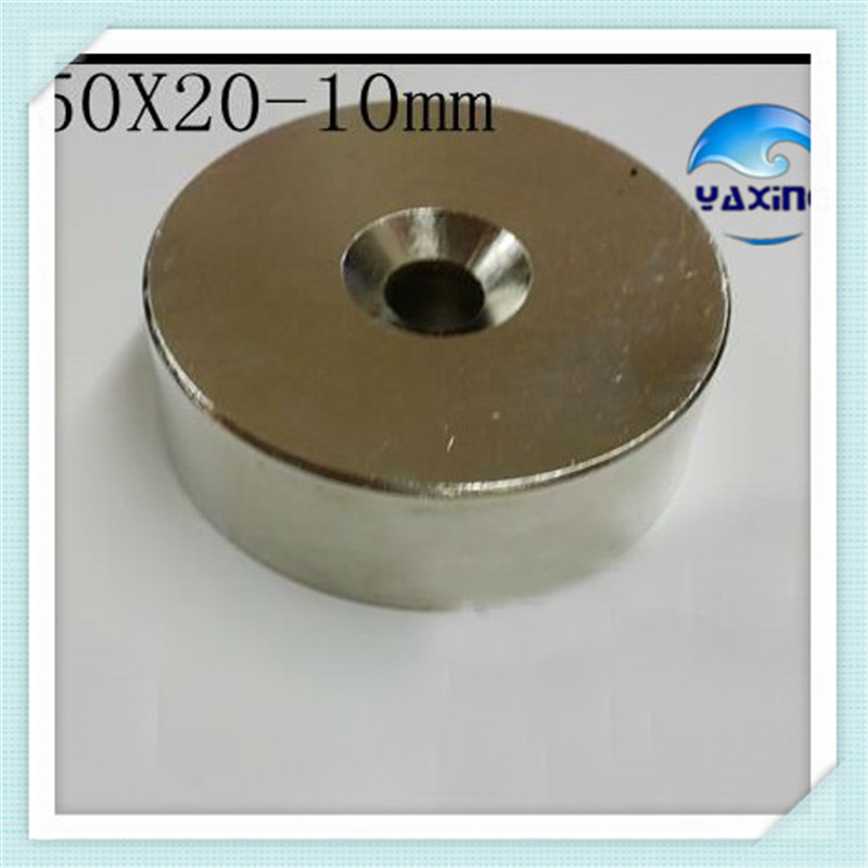 Neodymium N52 Magnet Ring 1PCS  50 x20 mm Hole 10mmSuper Strong Rare Earth Permanet  Ndfeb Countersunk  Magnet new arrival neodymium magnet imanes n35 25x10x3mm strong ring countersunk rare earth new arrival 2015 women jackets coats