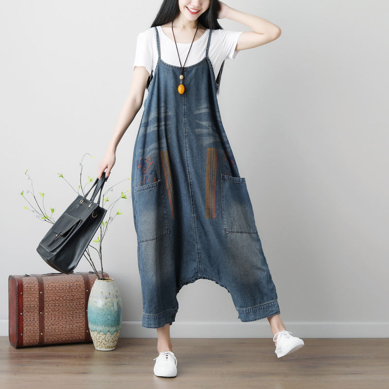 Johnature 2019 Summer New Casual Women Blue Pockets Denim Jumpsuits Two Ways To Wear Vintage Women
