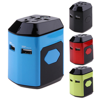 All In One Universal International Plug Adapter Dual USB Port World Travel AC Power Charger Adaptor