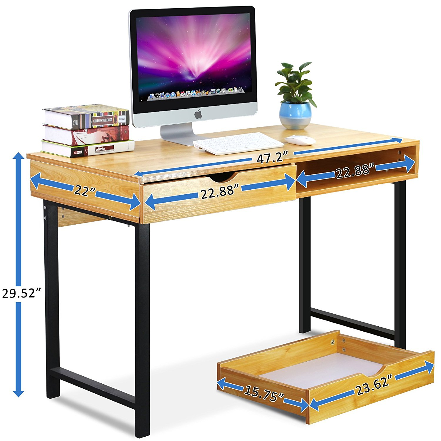 Computer office desk modern stylish 47 home office study table writing desk workstation with 2 drawers pear wood color