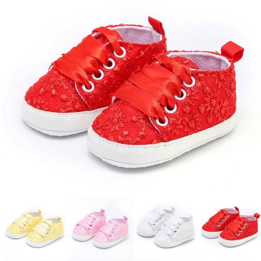 Prewalker Shoes Baby Booties Mocassins Floral Anti-Slip Soft-Sole Girl Cotton Lace Cloth