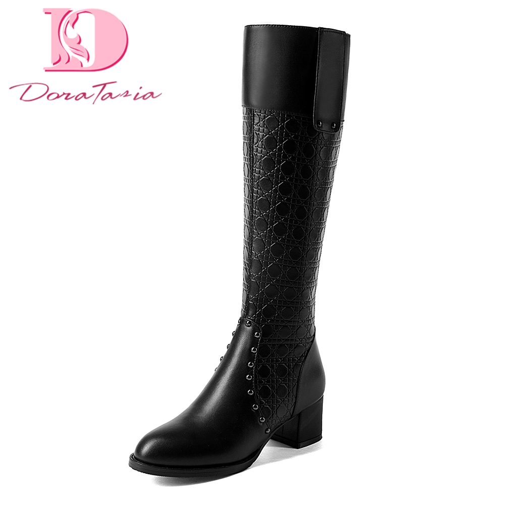 Doratasia new genuine Cow Leather plus Size 32-43 women Boots Woman Shoes Add Fur Winter Warm Shoes Woman riding Boots karinluna 2018 plus size 30 50 pointed toe square heels add fur warm winter boots woman shoes woman ankle boots female