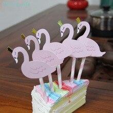 5pcs/a pack Cake Decoration Color Flamingo Paper Card Birthday Dessert Flag Festive Party Supplies недорого