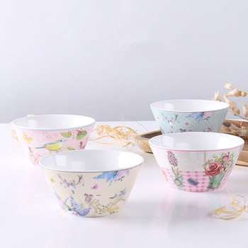 Chinese Soup Bowls Ceramic Salad Bowl Kitchen Food Serving Bowl Pink Cute Ceramic Tableware Fruit Bowl