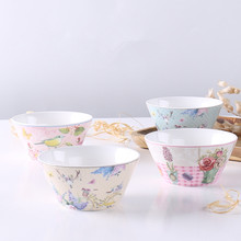 Chinese Soup Bowls Ceramic Salad Bowl Kitchen Food Serving Bowl Pink Cute Ceramic Tableware Fruit Bowl