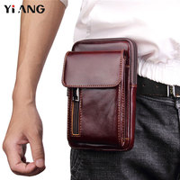 YIANG Men S Genuine Leather Waist Bag Retro Mobile Phone Bags Fashion Waist Belt Bag Fanny