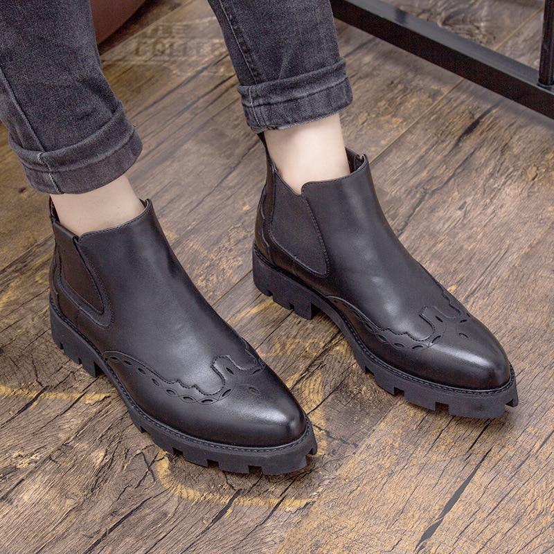 Calado negro en Slip Motocicleta Microfibra Sólida De Casual Redondo Del Dedo Zapatos Los La Invierno Tobillo Chelsea Botas Hombres Medicina Pie Moda Beige Martin ffgR7OU