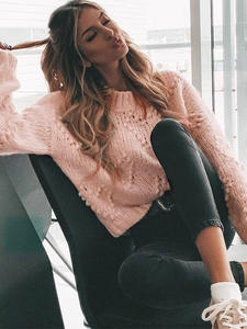 Knitted Jumper Casual Pullover Sweaters Ladies Long-Sleeve Loose Jamerry Pink Chic Vintage