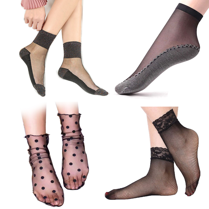 1/3/4/5pair Women's Short Socks Summer Fishnet Socks With Print Dot Lace Silk Transparent Ultrathin Women's Nylon Socks Summer