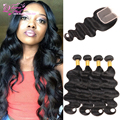 Natural Color Brazillian Body Wave With Closure Brazilian Virgin Hair 4 Bundles With Closure 8a Vip Beauty Hair With Closure