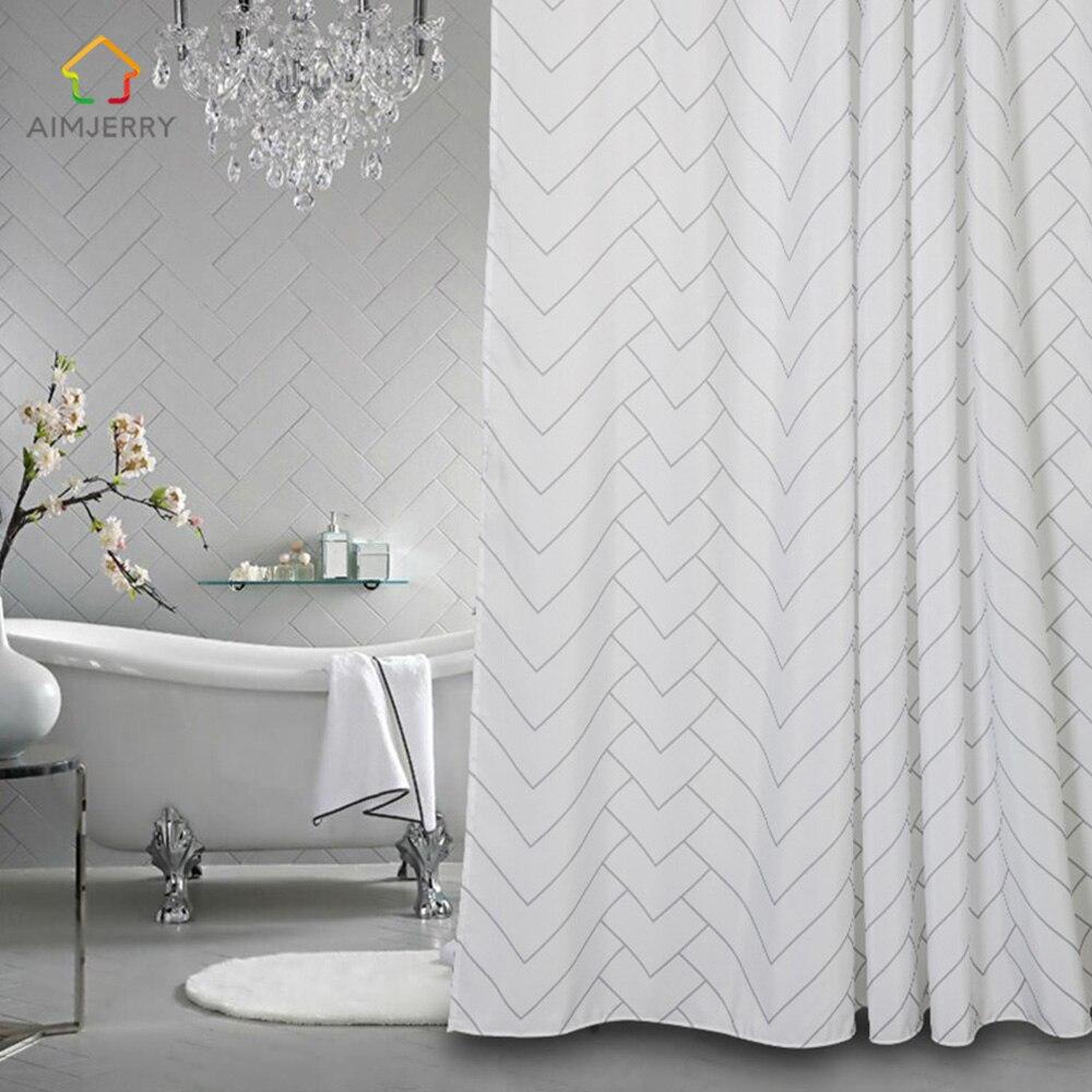 Aimjerry White And Black Bathtub Bathroom Fabric Shower