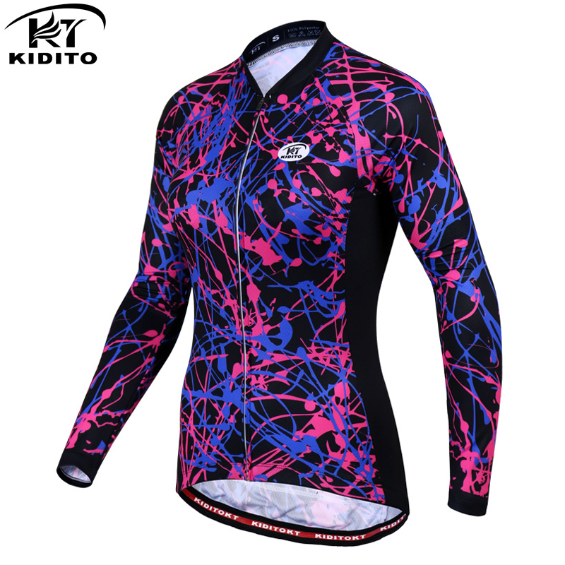 KIDITOKT 2018 Quick-dry Racing Bicycle Clothes Cycling Jersey Spring Woman Long Sleeve MTB Bike Clothing Ropa  Maillot Ciclismo