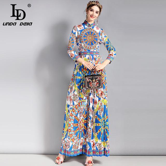 Runway Vintage Maxi Dress 3/4 Sleeve Classic Retro Art Floral Pattern Printed Long Dress