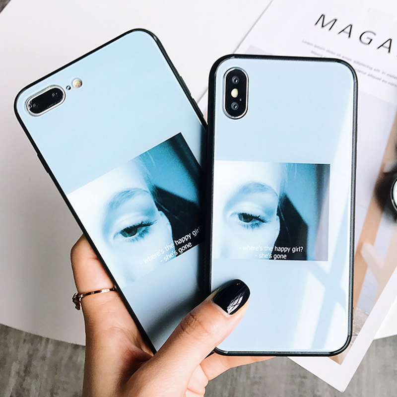 Luxury Fashion Tempered Glass Cute girl woman Clear Melancholy eyes Full Protection Cover Cases For iPhone 6 6s 7 8 X plus Case