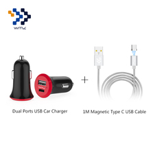 WMZ Car Charger Dual Ports USB 2.0 & 3.1 Type-C Interface Charger+1M Magnetic Type C Cable For Xiaomi 4C One Plus 3 3T