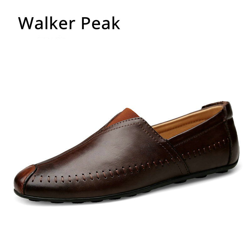 Walkerpeak Size 36-47 Casual shoes Mens Handmade Genuine Leather Flats Men's Boat Shoes High Quality Loafers Brand Driving Shoes trudi овечка
