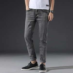 Image 5 - Klasik erkek koyu gri kot 2020 yeni pantolon moda rahat pamuk elastik Slim Fit marka pantolon erkek