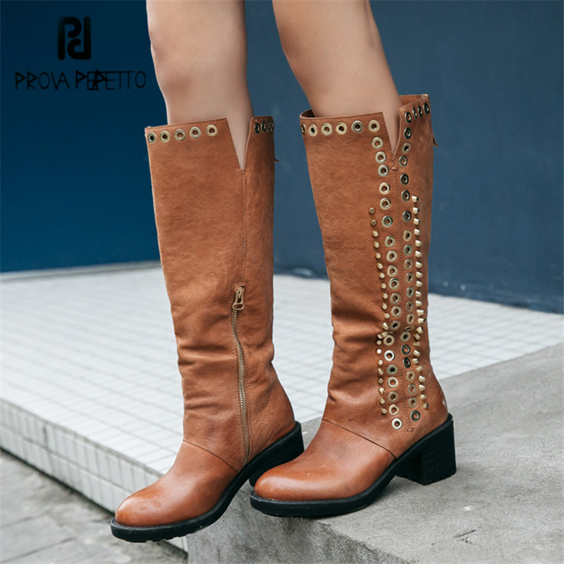 Prova Perfetto Punk Style Women Knee High Chunky High Heel Ladies Martin Boots Rivets Studded Autumn Winter Botas Mujer punk style chunky heel and rivets design women s ankle boots