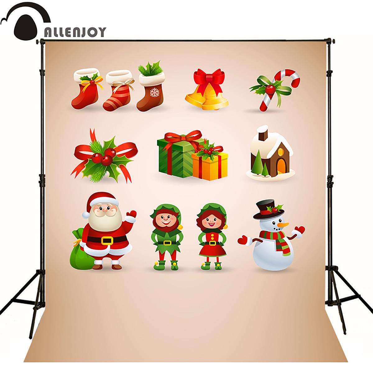 Allen joy christmas photography backdrops gift candy santa claus snowman elf mistletoe newborn baby shower photocall happy neje st0006 4 christmas stretch santa claus gift snowman doll red white