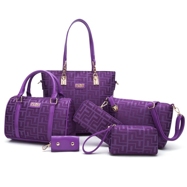 df8cedf9f7 ITSCOSY Women Handbag Tote Bags 2 Handbag +Crossbody Bag+Wallet +Purse  +Keychian 6 Piece Set Bags