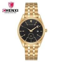 CHENXI Calendar Hours Gold Quartz Watch Men Clock Top Brand Luxury Wrist Watches Golden Hodinky Relogio