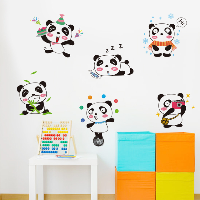 shijuehezi ]small pandas wall stickers vinyl decorative animal