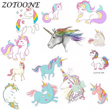 ZOTOONE Cute Unicorn Patch Iron on Transfer Patches for Clothing Flower Beaded Applique Baby Clothes DIY Decoration E