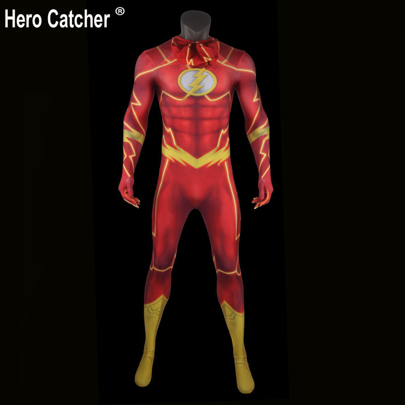 Hero Catcher Top Quality 3D Print Flash Costume Spandex Flash Zentai Suit Muscle Shade Flash Suit Red Flash Cosplay Costume