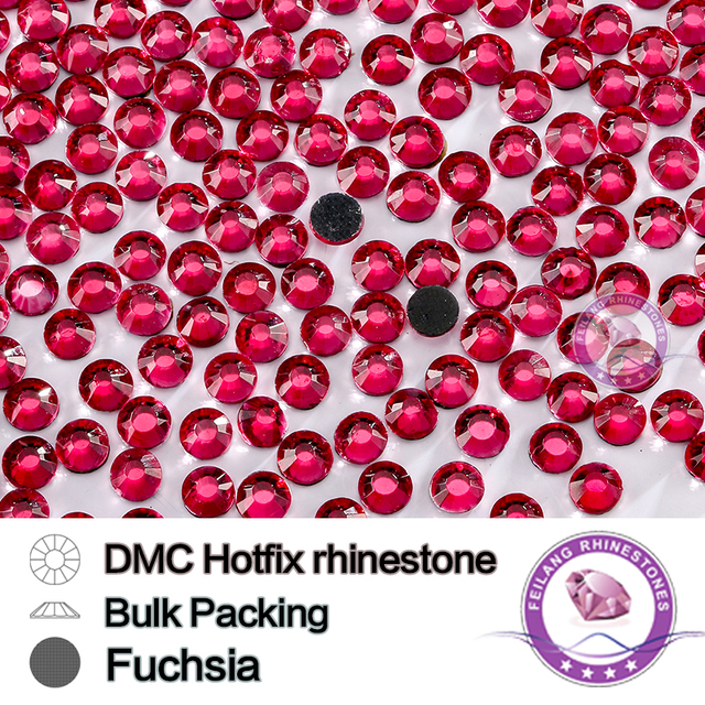 Fuchsia Size SS6 SS10 SS16 SS20 SS30 Bulking Packing HotFix Rhinestone For Garments Bags And Shoes