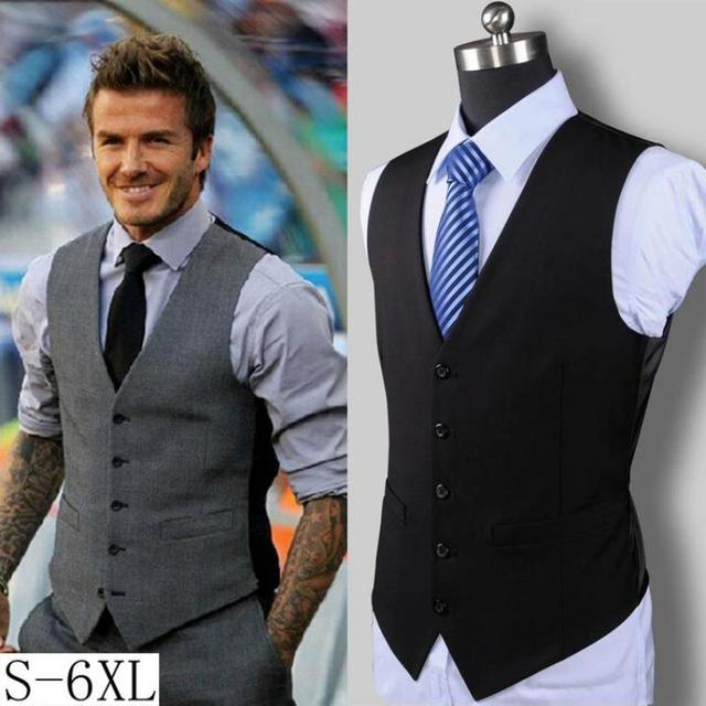XXXXXXL New Men's Slim Vest Suit Single Button Casual Vest Men's brand Sleeveless Jacket British Waistcoat in Men's Suit Vests