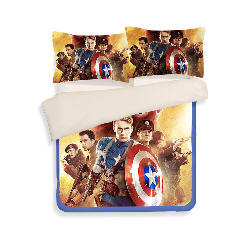 Captain America 3D print bedding sets bedspread bed sheets Children's Adult duvet cover single full queen king size yellow color