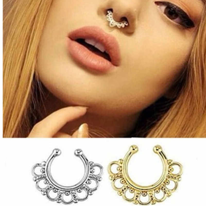 Crystal piercing nose ring hoop for women clip body decoration rivets European and American Sexy Novelty 2018