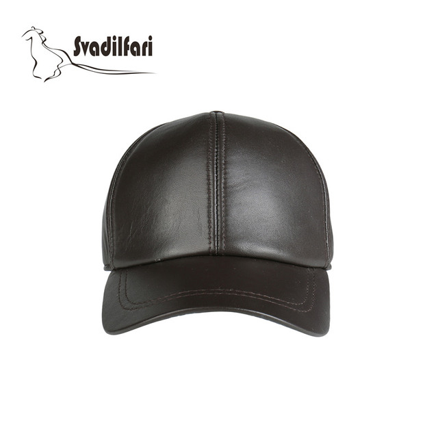 High Quality Genuine Leather Baseball Cap Black Adjustable 2018 New Fashion  Solid Men Women Hat In 310daa49166