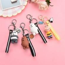 Cartoon Anime We Bare Bears Keychain Cute Three Animal Doll  Women Car Bag Pendant Belt Trinkets Key Chain Porte Clef