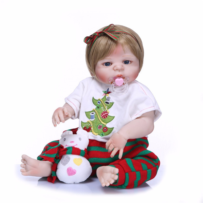 NPK 55cm Handmade Bebe Reborn Dolls Realistic Full Silicone Vinyl Baby Dolls with Christmas Tree Pattern Playsuits Bath Toy three christmas snowman dolls pattern wall tapestry